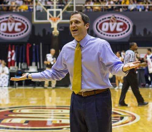 Fumi Nakamura/The News Head Coach Steve Prohm contests a call during the March 7 loss to Belmont at Municipal Auditorium in Nashville, Tenn.