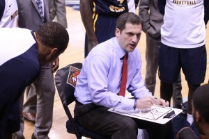 Jenny Rohl/The News Head Coach Steve Prohm draws up a play for the Racers during a timeout in the last minutes of the game against Old Dominion.