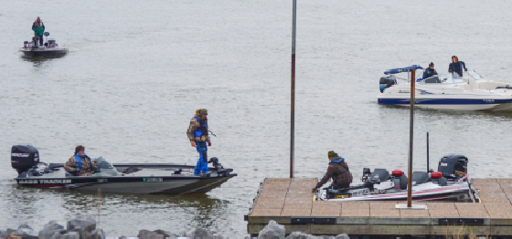Hannah Fowl/The News Members of the Bass Angler's team docking their boats at Kentucky Lake Bass Anglers 2015 Open Invitational Tournament.