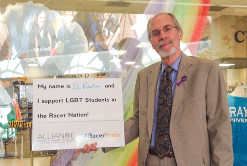Courtesy of LGBT Alliance  Don Robertson, vice president of Student Affairs, is a proud supports LGBT Alliance.