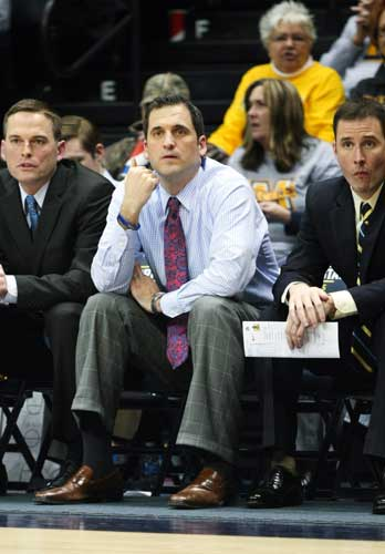 Haley Hays/The News Prohm watches as the Racers play Eastern Illinois Feb. 26 at the CFSB Center.