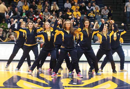 Jenny Rohl/The News Racer girls perform at a men's basketball home game during the 2014-15 season.