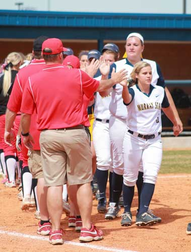 Jenny Rohl/The News The Racers acknowledge Southeast Missouri after the Redhawk's loss on April 11 and 12.