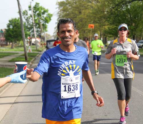 Fumi Nakamura/The News Bommanna Loganathan, professor of environmental/analytical chemistry, runs in the Murray Half Marathon Saturday.