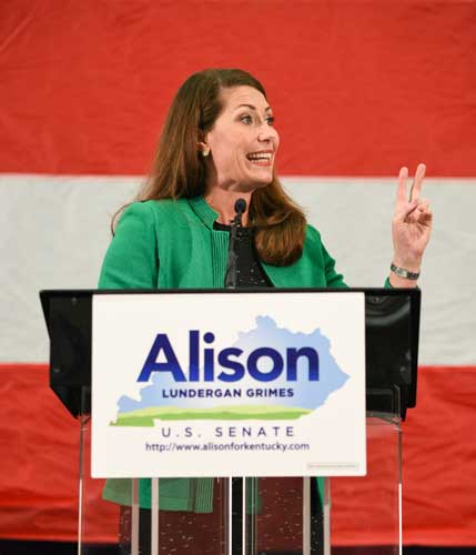 Kory Savage/The News Alison Lundergan Grimes speaks in Paducah, Ky., last fall during her campaign for the U.S. Senate seat.