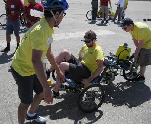 "Courtesy of Sidney Martin Morgan Hays, junior from Murray, pedals the bike the Murray State team designed for the Parker Hannifin ""Chainless Challenge."""