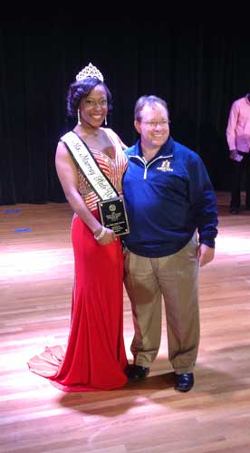 Photo courtesy of Jeremiah Johnson Miss MSU winner, Tanelle Smith, sophomore from Cape Girardeau, Mo., poses with President Bob Davies after being crowned.