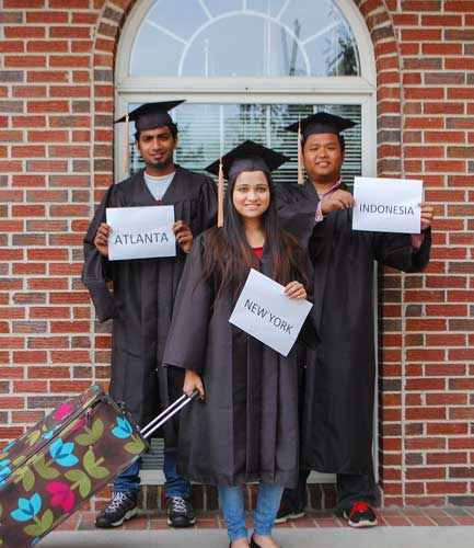 Hannah Fowl/The News Pictured left to right are graduating seniors Venky Meesala from India, Tansia Mehrin from Belize and Andre Damarizal from Indonesia.