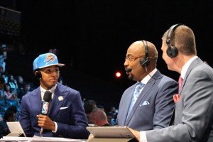Mallory Tucker/The News ESPN color commentators interview Cameron Payne immediately following his draft selection.