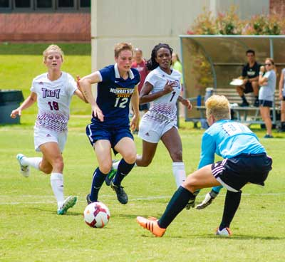 Zachary Maley/The News Harriet Withers, sophomore forward from Murwillumbah, Australia stakes a shot during the Racers' first game of the season against Troy Aug. 15. Withers scored one of the two winning goals against Mississippi State in last week's guarantee game in Starkville.