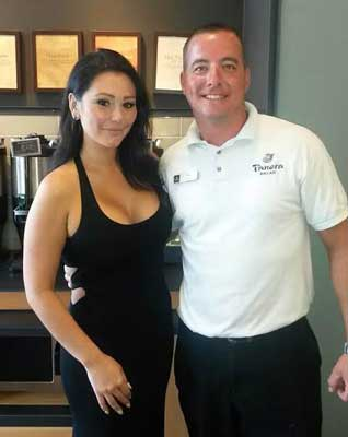 "Photo courtesy of Trey Long Jenny Farley or ""JWOWW"" from ""Jersey Shore"" stopped into Murray's Panera Bread in July."