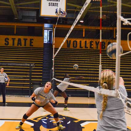 Emily Harris/The News The Murray State volleyball team practices Wednesday morning before its OVC season begins this weekend against Southeast Missouri State in Cape Girardeau, Missouri.
