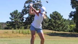 Nicole Ely/The News Sydney Trimble, junior from Paducah, Kentucky, tees off during the MSU Invitational Sept. 15-16.