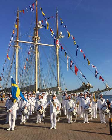 Photo courtesy of Frida Bengtsson The Royal Swedish Navy marches on a boat.