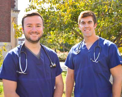 Emily Harris/The News Matt Griffith (left) and Gavin Nall (right) are seniors in the School of Nursing and Health Professions, which has seen an increase in male graduates.