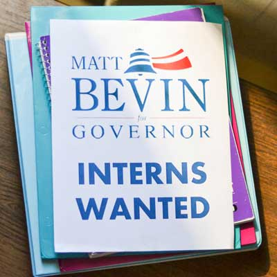 Chalice Keith/The News Matt Bevin, a candidate for Kentucky state governor, is seeking interns.