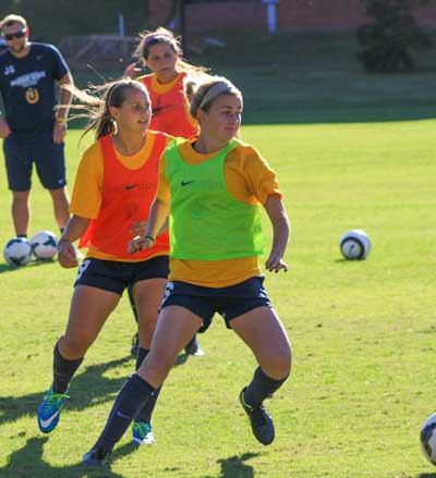 Kalli Bubb/The News Members of the Murray State soccer team practice defensive drills at Cutchin Field.