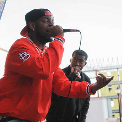 Kalli Bubb/The News Jared Cook took the stage under the name J-Fresh with his hype man Rashid Leverett.