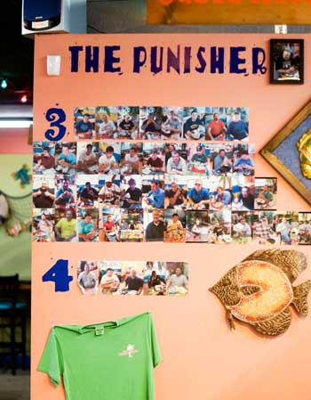 Zachary Maley/The News Burrito Shack boasts the Punisher Wall of Fame proudly.