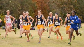 Emily Harris/The News Murray State men's cross-country runs in their final race of the season at the OVC Championship on Saturday.