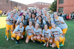 Jenny Rohl/The News The Racers pose for a game-winning shot at the OVC Championship game Sunday on Cutchin Field.