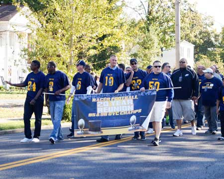 Zachary Maley/The News 20 YEARS: Two decades after taking back to back titles, the 1995 and 1996 Racer football team returned over Homecoming weekend to reunite with Murray State and fellow teammates. The team walked in the Student Government Association's Homecoming Parade Saturday morning and was also honored on the field of Roy Stewart Stadium during the football game.