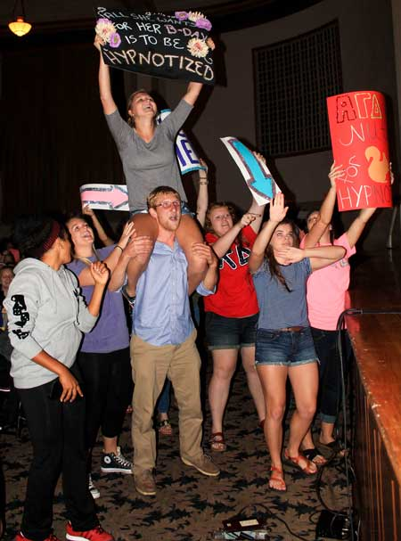 Jenny Rohl/The News GREAT START: Each academic year is kicked off with a variety of events and one of the more popular events is when hypnotist Tom Deluca takes to Lovett Auditorium. Deluca provides a few hours of comedic entertainment as students fall under hypnosis.