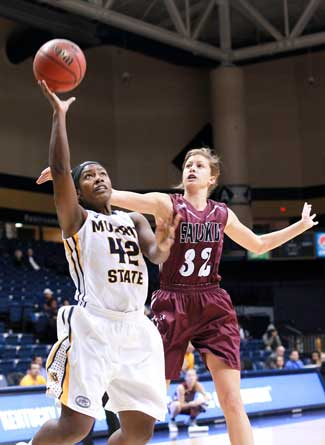 Jenny Rohl/The News Jashea Lee, senior forward, goes up for a layup in the 70-57 loss to SIU on Wednesday.