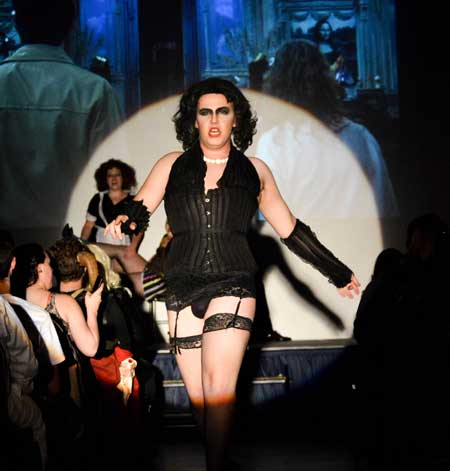 Emily Harris/The News ROCKY HORROR: With each Halloween comes haunted houses, tricks and treats and, of course, the annual Rocky Horror Picture Show. The Sock and Buskin Theatre Department hosts the show every year and Nick Newsam, senior theater major, took to the stage as the infamous Dr. Frank-N-Furtor.