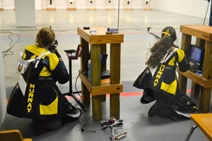 Chalice Keith/The News WITHROW INVITATIONAL: Freshman Alathea Sellars from Puryear, Tennessee kneels in position. Sellars shot a career high 594 in air rifle and a 576 in small bore.