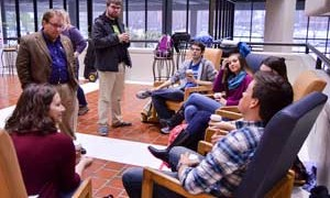 Emily Harris /The News President Davies had coffee and conversation in the first of many student based-events.