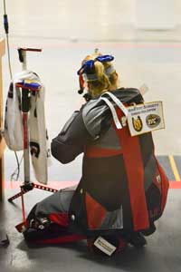 Chalice Keith/The News WITHROW INVITATIONAL: Barbara Schläpfer, freshman from Gais, Switzerland kneels during a fall match at home. The Racers host the University of Kentucky, Jacksonville State, Tennessee State, Nebraska, Memphis, Ole Miss and UT Martin in the Withrow Invitational on Friday, Saturday and Sunday at the Pat Spurgin Rifle Range. See page 3B for a full story.