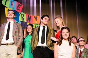 "Jenny Rohl/The News Madison Jarrett, Alexandria Routen, Collin Andersson, Kelsey McIlroy, Karen Trevarthen and Heith Chandler pose together during ""Hairspray,"" which was this year's Campus Lights performance."