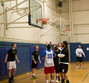 Nahiomy Gallardo/The News The Richmond Shenanigans defeated the Lambda Chi Wags 65-44 in a basketball game Feb. 4.
