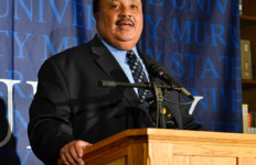 Chalice Keith/The News MARTIN LUTHER KING III: King holds a press conference in Pogue Library.