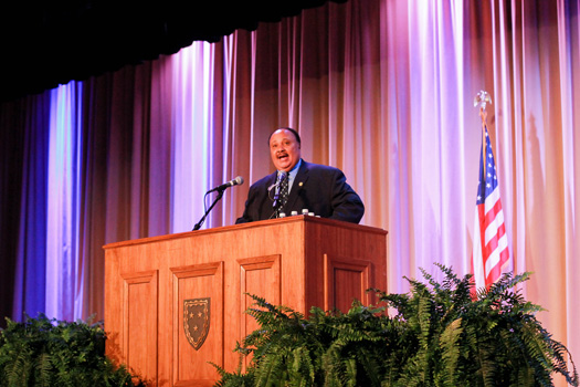 Jenny Rohl/The News PRESIDENTIAL LECTURE: Martin Luther King III spoke to a crowd in Lovett Auditorium for the Presidential Lecture Series about progress in the civil rights movement. Last year, MSNBC's Chuck Todd spoke for the lecture series.