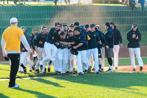 Kalli Bubb and Jenny Rohl/The News The Murray State baseball team celebrates after winning a game last season.
