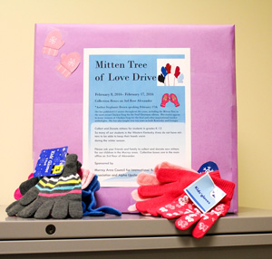 Nicole Ely/The News Mittens are being collected in Alexander Hall until the end of February.