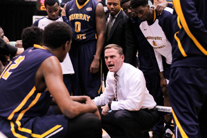 Jenny Rohl/The News Head Coach Matt McMahon talks to the players during a timeout in the UT Martin game Saturday.