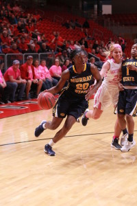 Jenny Rohl//The News Sophomore forward and guard Ke'Shunan James dribbles the ball for an attempted layup during their game against Southeast Missouri State Wednesday.