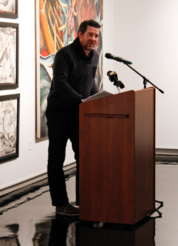 "McKenna Dosier/The News Louisville author, Adam Day, read some of his poems and from his book, ""Model of a City in Civil War,"" in front of a captivated crowd."