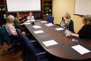 McKenna Dosier/The News Faculty discussed gender bias in student evaluations at the Coffee and Conversation meetings.