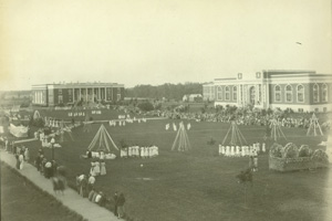 Photo courtesy of Pogue Library The Quad from the 1930s 'Mayday celebration'.