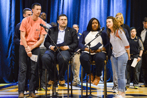 Emily Harris/The News Take Back The Night was held Monday in the CFSB Center and included speakers including survivors and university leaders.