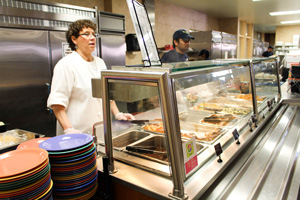 "Nicole Ely/The News The ""Salt and Pepper"" hotline at Winslow Dining Hall will become self-serve after Spring Break to cut food service costs."