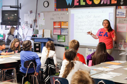 McKenna Dosier/The News Murray State's chapter of Sigma Alpha taught fifth-graders about genetically modified organisms at Benton Elementary School.
