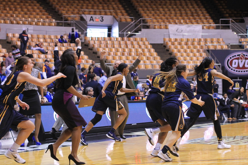 Jenny Rohl // The News Murray State bench celebrates upset victory Wednesday against UT Martin.
