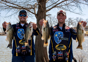 Photo courtesy of the Murray State Bass Anglers team Freshman from House Springs, Missouri, Nathan Adams and junior from Goreville, Illinois Shon Messmer finish 13th out of 203 teams in the FLW College Open.