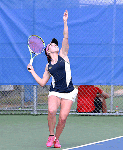 Contributed by Christiana Anderson – Murray State Athletics Megan Blue, senior from Ontario, Canada, serves during a match at the OVC Tournament. The Racers lost to Eastern Kentucky.