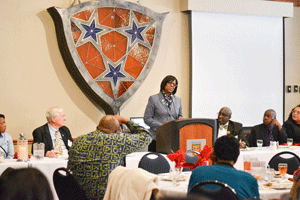 Chalice Keith/The News Lieutenant Governor Jenean Hampton spoke at the Kentucky Black Caucus of Local Elected Officials and was asked to clarify a previous statement on the value of a history degree.